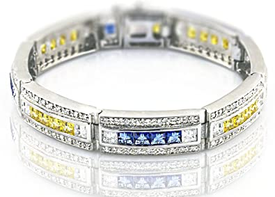 70ebfc92076e8 Sterling Manufacturers Men's Sterling Silver .925 Bracelet with Canary  Yellow, Azure Blue and White Cubic Zirconia (CZ) Stones, Box Lock, Platinum  ...