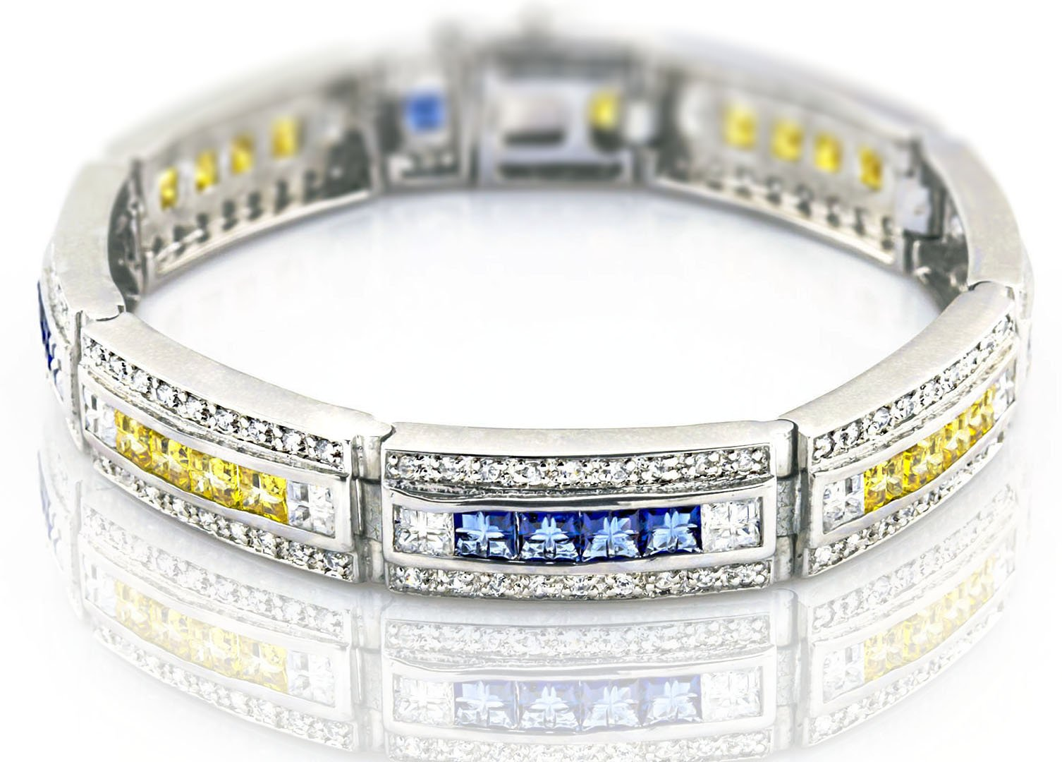 Men's Sterling Silver .925 Bracelet with Canary Yellow, Azure Blue and White Cubic Zirconia (CZ) Stones, Box Lock, Platinum Plated. 8'' or 9'' By Sterling Manufacturers by Sterling Manufacturers (Image #1)