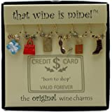 Wine Things WT-1429P Born to Shop Wine Charms, Painted