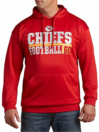 super popular d1375 a8483 Majestic Kansas City Chiefs NFL Mens 1 Handed Catch Synthetic Polyester  Performance Fleece Hoodie Red Big & Tall Sizes