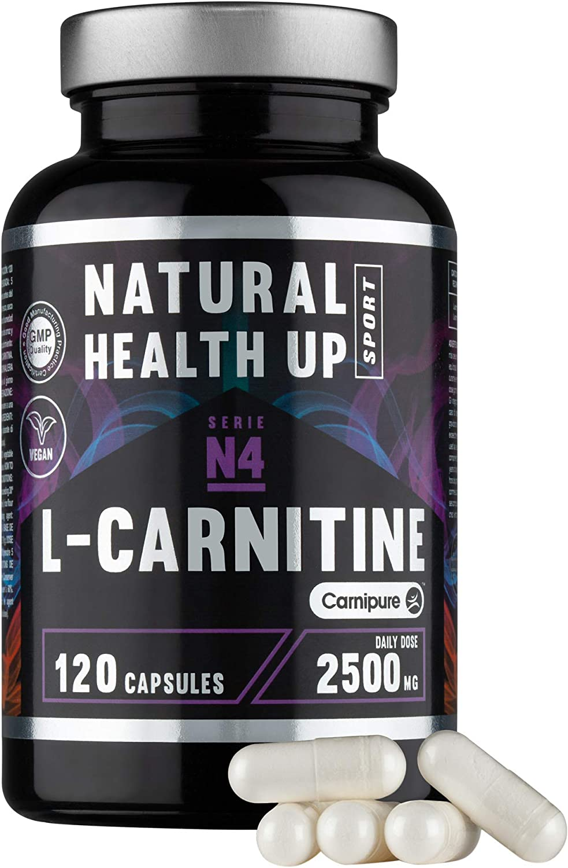 L-Carnitina (Carnipure) Natural Health Up para el entrenamiento – Quemagras para la rutina deportiva – 120 cápsulas vegetales (2500 MG Dosis diaria)