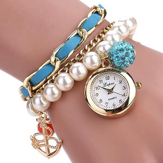 CiCi tienda mujeres Faux Pearl Rhinestone cadena ancla pulsera esfera analógica reloj de pulsera, Wrap: Amazon.es: Relojes