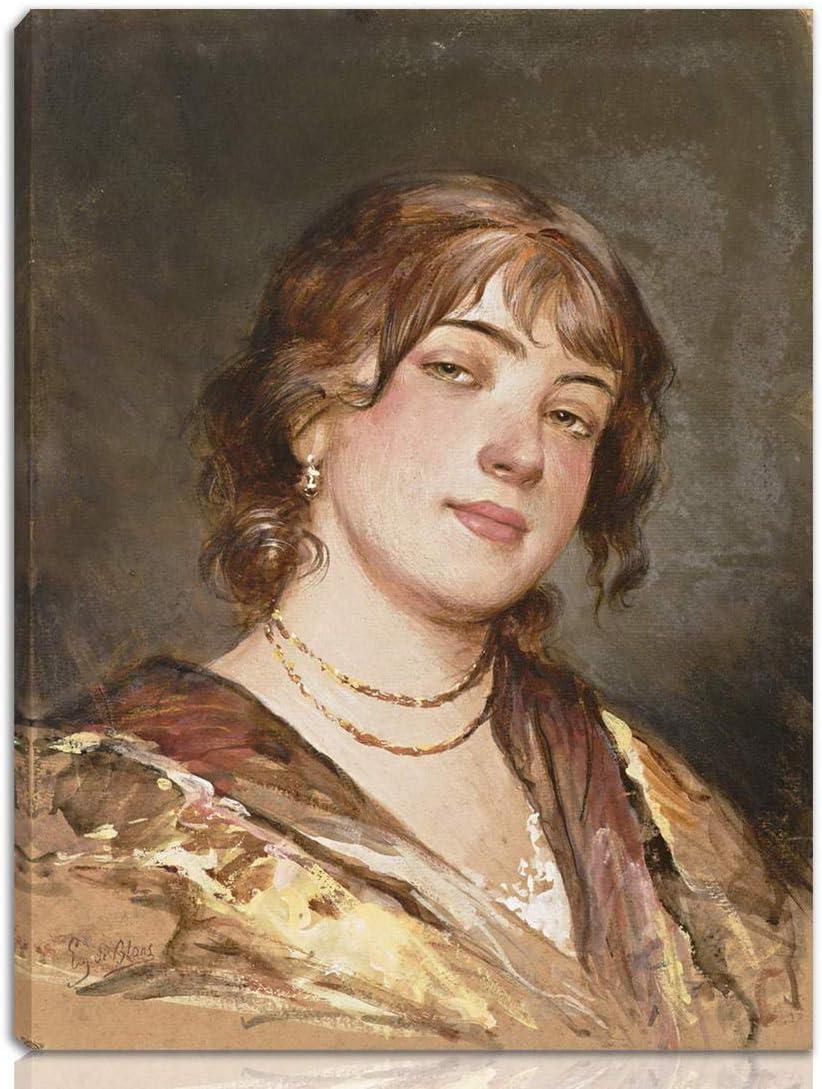 Girl in lilac dress by Italian Artist Eugene de Blaas People Repro on Canvas