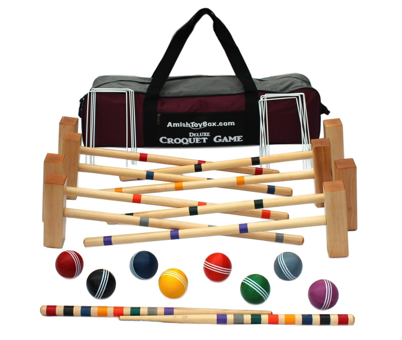Family Traditions 8 Player Wooden Croquet Set, Amish Made by AmishToyBox.com