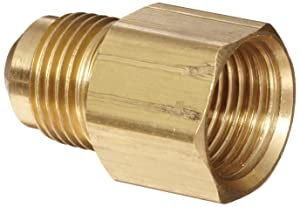 "Anderson Metals Brass Tube Fitting, Coupling, 1/2"" Flare x 3/8"" Female Pipe"