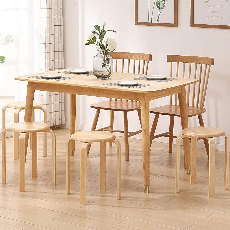 Sedile da caff/è Poggiapiedi Sedia RF-QM006 Sedia da Cucina Seduta Liscia Rotonda IBUYKE Sgabello da Bar in Legno Massello Sedie da Pranzo