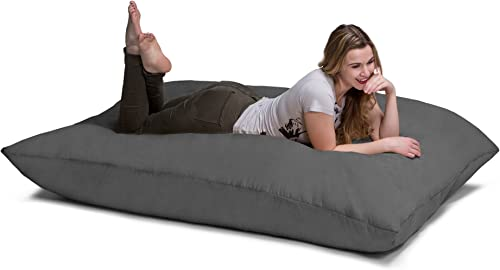 Jaxx Pillow Saxx 5.5-Foot – Huge Bean Bag Floor Pillow and Lounger, Charcoal