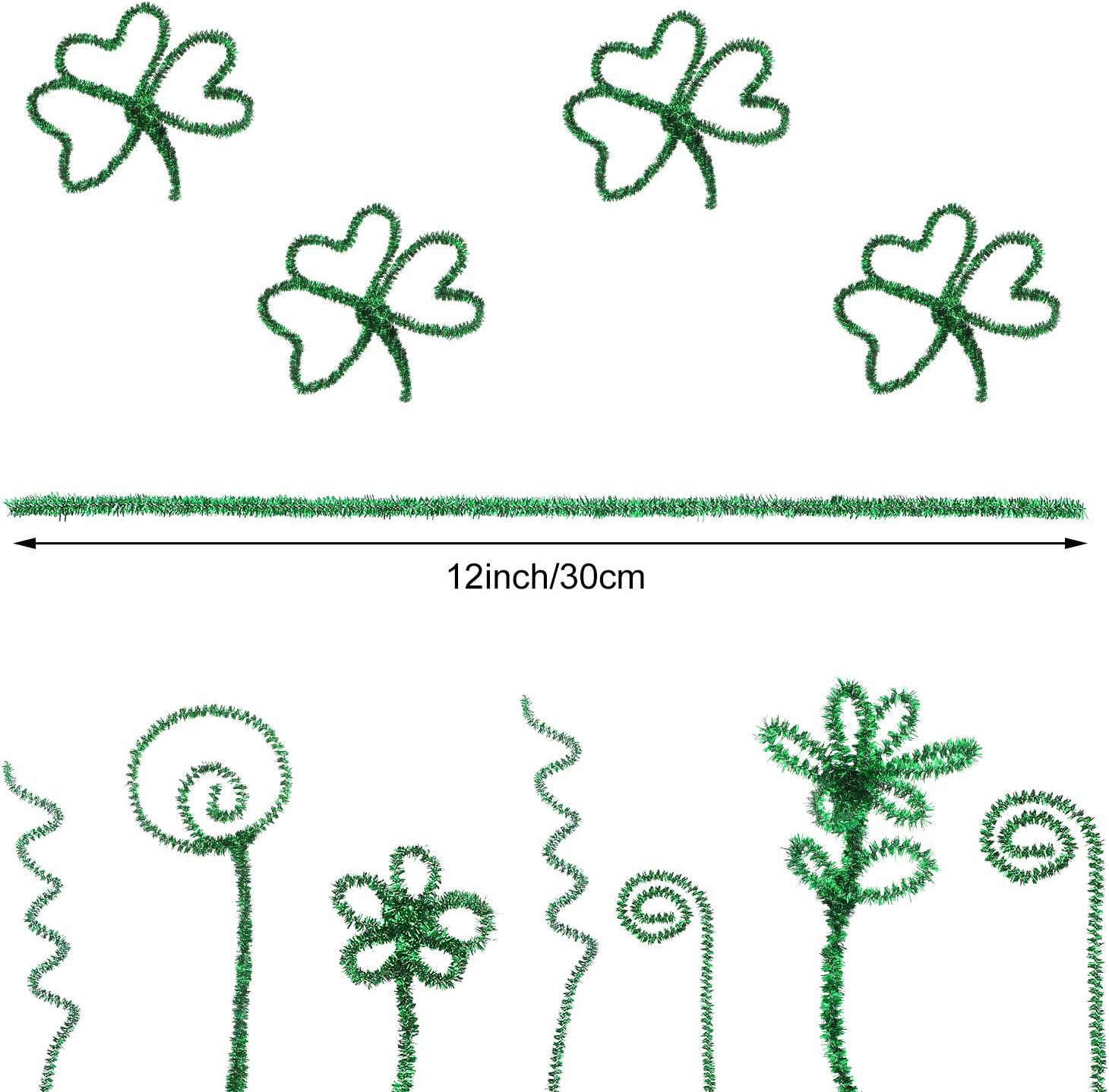 Green Patricks Day Wedding Decoration 400 Pieces St 12 Inches Patricks Day Pipe Cleaners Craft Chenille Stems Glitter Chenille Stems Creative Arts for St