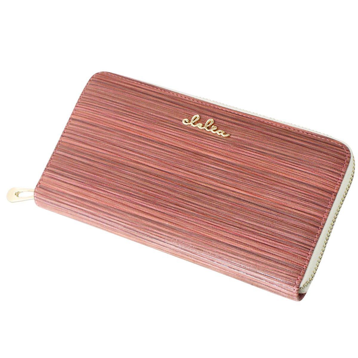 [クレリア] Clelia 長財布 レディース 羊革 カラーストライプ ラウンドファスナー 【CL-8607】 B00TFA155K  ピンク
