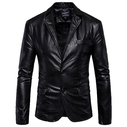 92caa4fd6 Elonglin Mens Blazer Moto Jacket Faux Leather Motorcycle Biker ...