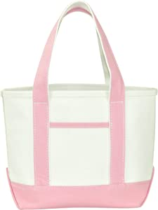 "DALIX 14"" Mini Small Cotton Canvas Party Favor Wedding Gift Tote Bag in Pink"