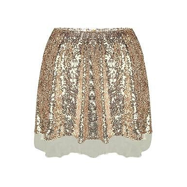 6e0b2d3d1a91 Romacci Femmes Sequin Mini Jupe Taille Haute Zip Glitter A-Ligne Jupe Courte  Or