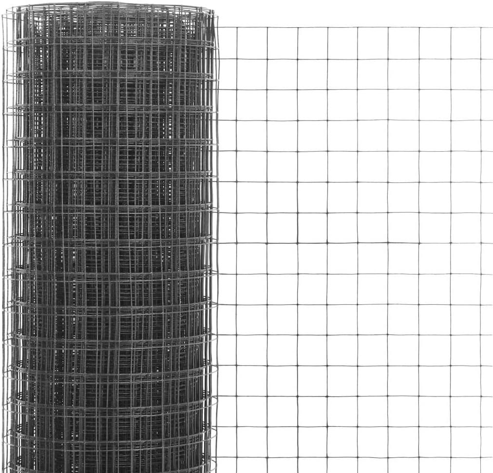 Festnight Maschendraht Gitterzaun Stahl mit PVC-Beschichtung Drahtgeflecht Drahtgitter 25 x 0,5 m Quadrat-Maschen Maschenweite 12 x 12 mm Grau