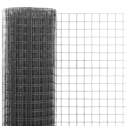 mewmewcat Grillage Métal Acier et revêtement en PVC 25 x 1,5 m pour Jardin  de Jardin en Plein air Carré Gris