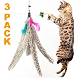 Pets Can Play Feather Replacement Refills, Guinea Fowl, Pack of 3