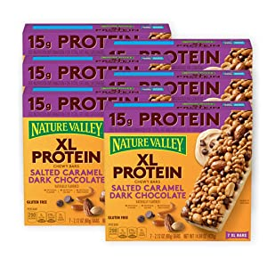 Nature Valley Protein XL Chewy Granola Bar, Salted Caramel Dark Choc, 7 Bars (Pack of 6)