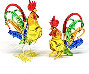 ZOOCRAFT Chicken Figurines Collectibles Hand Blown Glass Rooster Set of 2