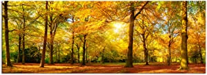 XLarge Autumn Forest Canvas Wall Art Prints,Autumn Tree Forest Painting Printed on Canvas,Framed and Stretched,Landscape Home Decor,Living Room Bed Room Hotel Wall Mural Decor (Gold Forest)