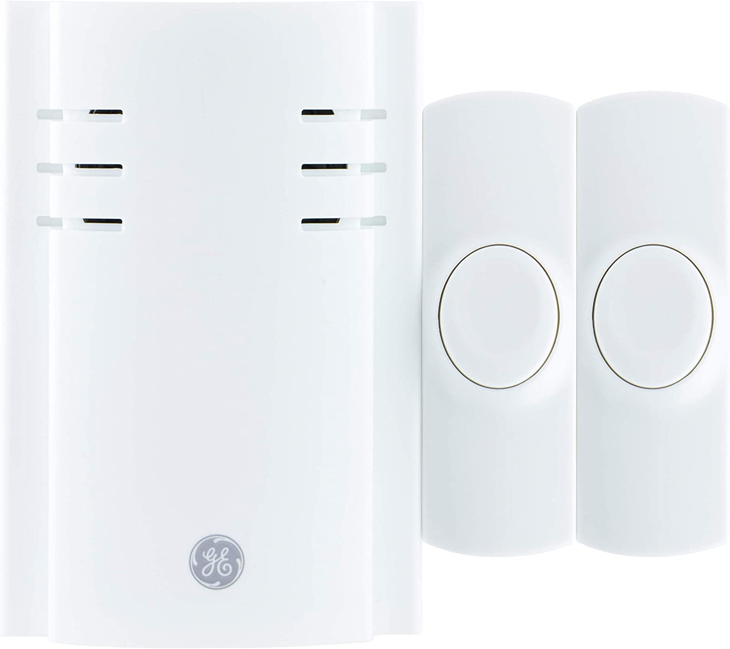 GE Wireless Doorbell Kit, 8 Melodies, 2 Push Buttons, 4 Volume Levels, 150 Ft. Range, White, 19300, Plug-In Receiver