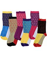 Color Block Musical Notes Print Assorted Fashion 6 Pack Crew Socks