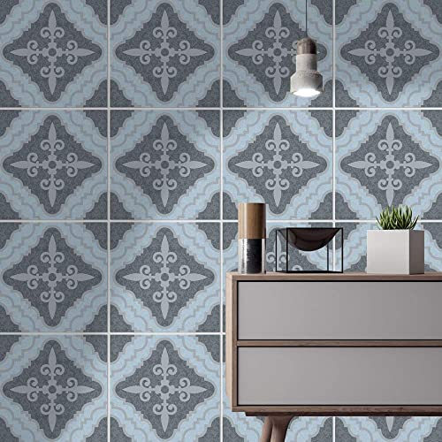 Homeartdecor Decorative Tiles Moroccan Vintage Blue Grey Just Peel And Stick Suitable For Kitchen And Bathroom Waterproof Floor And Wall Tiles 24 Individual Tiles Stickers Home Decor Amazon Co Uk Handmade