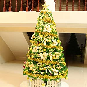 6.8Ft Artificial Christmas Tree Spruce Hinged Xmas TRE Decorations with Metal Stand Easy Assembly for Indoor -Golden 7.8Ft(240cm)