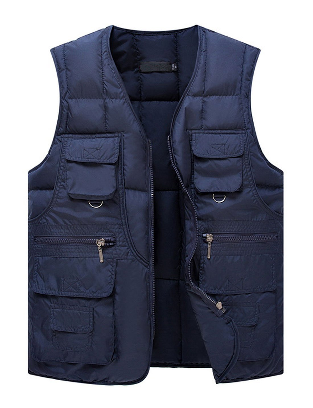 Yeokou Men's Winter Outdoor Quilted Cotton Padded Puffer Cargo Vest Multi Pocket (Large, Blue)