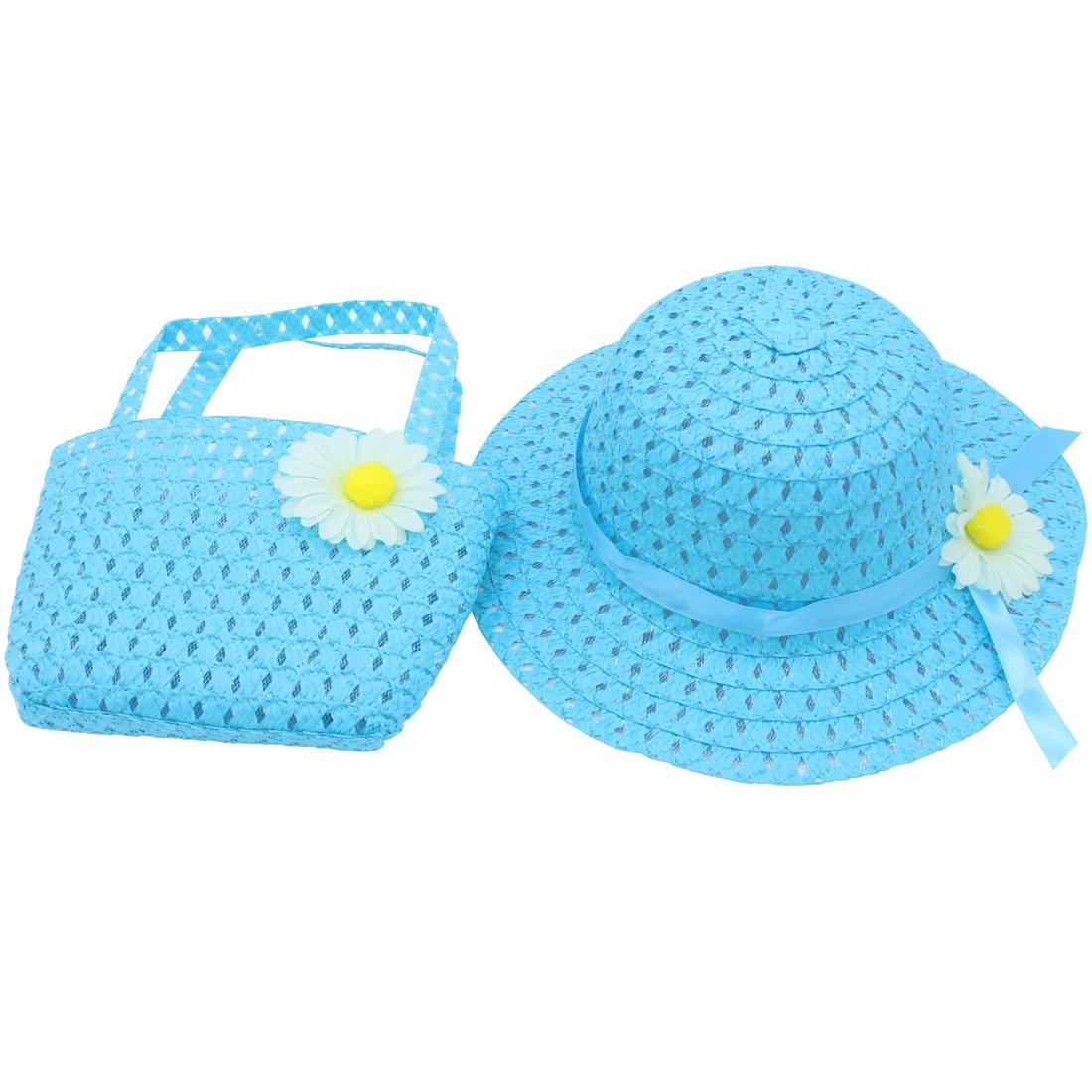 Baby Straw Hat Summer Girls Hat Purse Set Beach Floppy Hats Kids Sun Hat with Bag