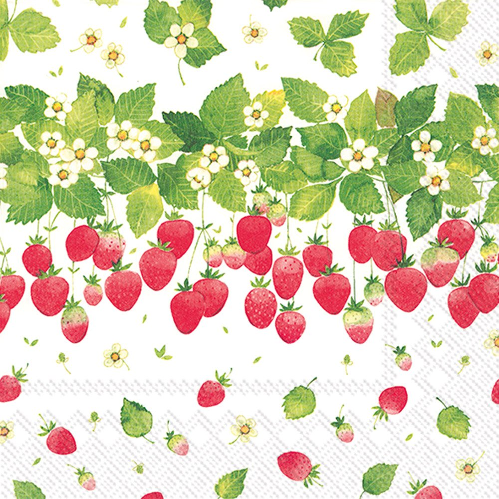 Celebrate the Home Summer 3-Ply Paper Luncheon Napkins, Strawberry Season, 20-Count