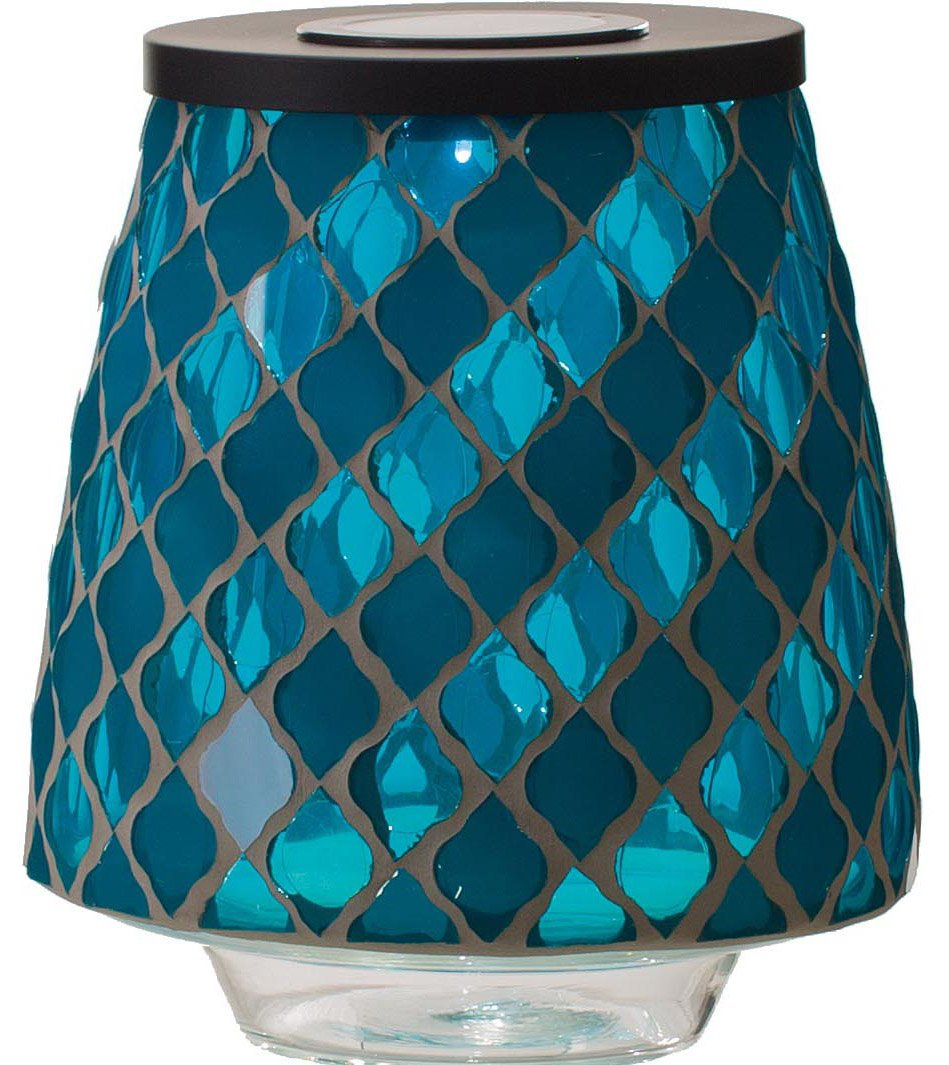 Transpac Imports, Inc. Blue Matte and Shine Moroccan Tile 9 inch Glass Solar Mosaic Hurricane Lamp