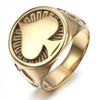 Edelstahl Herren Ring Goldring Siegel Geschenk Herrenschmuck Gold NEU