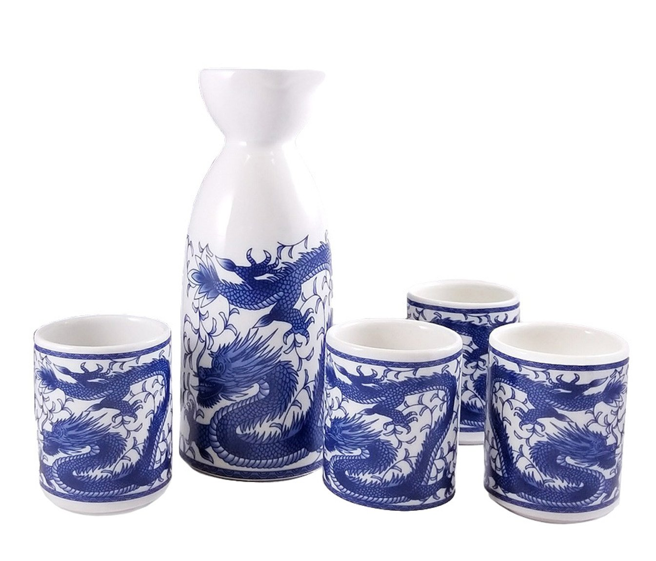 Happy Sales HSSS-DRG11, Royal Dragon Sake Set, White and Blue by Happy Sales