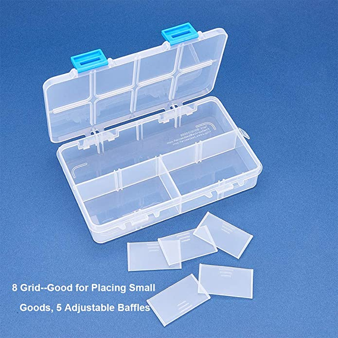 Beads 6.4x3.85x1.18 Inch Craft Accessories and Other Small Items Tools BENECREAT 8 Pack 8 Grids Large Transparent Plastic Storage Box Bead Organizer with Adjustable Dividers for Jewelry