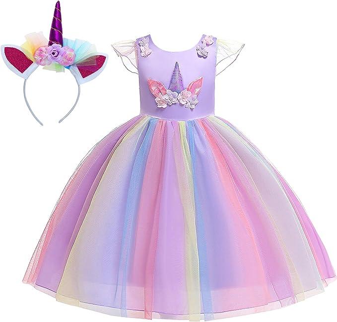 New front Disfraz de Unicornio Vestido de Princesa Niña Bebé con ...