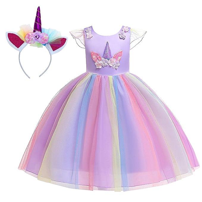 New front Disfraz de Unicornio Vestido de Princesa Niña Bebé ...