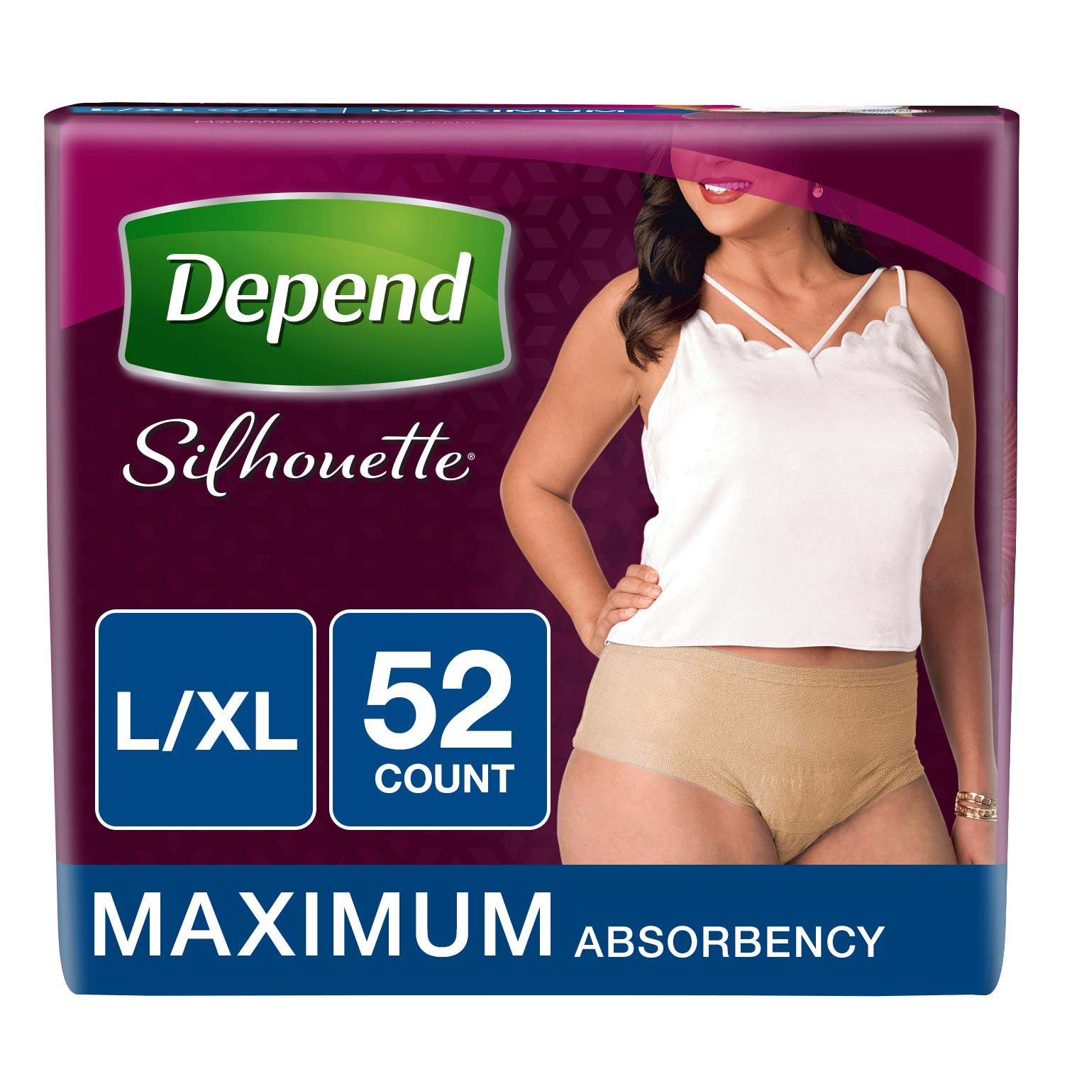 Depend Silhouette Incontinence Underwear for Women, Maximum Absorbency, L/XL, Beige, 52 Count by Depend