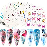 30 Sheets Butterfly Nail Art Stickers Decals Flower Butterfly Design Water Transfer Nail Stickers for Nails Art Supply…