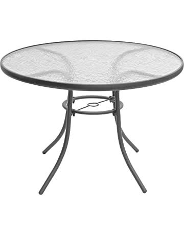 Round outdoor table Top Rio Brands 40 Inch Sienna Round Patio Table With Tempered Glass Top shadow Gray Amazoncom Amazoncom Dining Tables Patio Lawn Garden