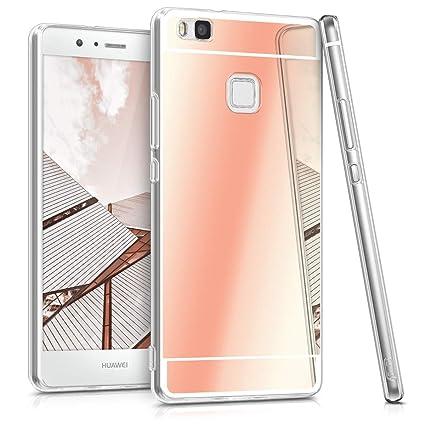 kwmobile Funda compatible con Huawei P9 Lite - Carcasa protectora trasera de TPU para móvil en oro rosa con efecto espejo