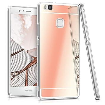 kwmobile Funda compatible con Huawei P9 Lite - Carcasa protectora [trasera] de [TPU] para móvil en [oro rosa con efecto espejo]