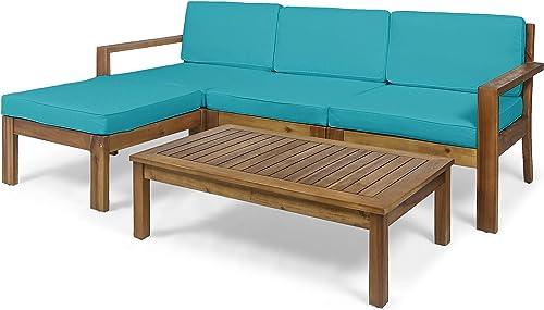 Makayla Ana Outdoor 3 Seater Acacia Wood Sofa Sectional