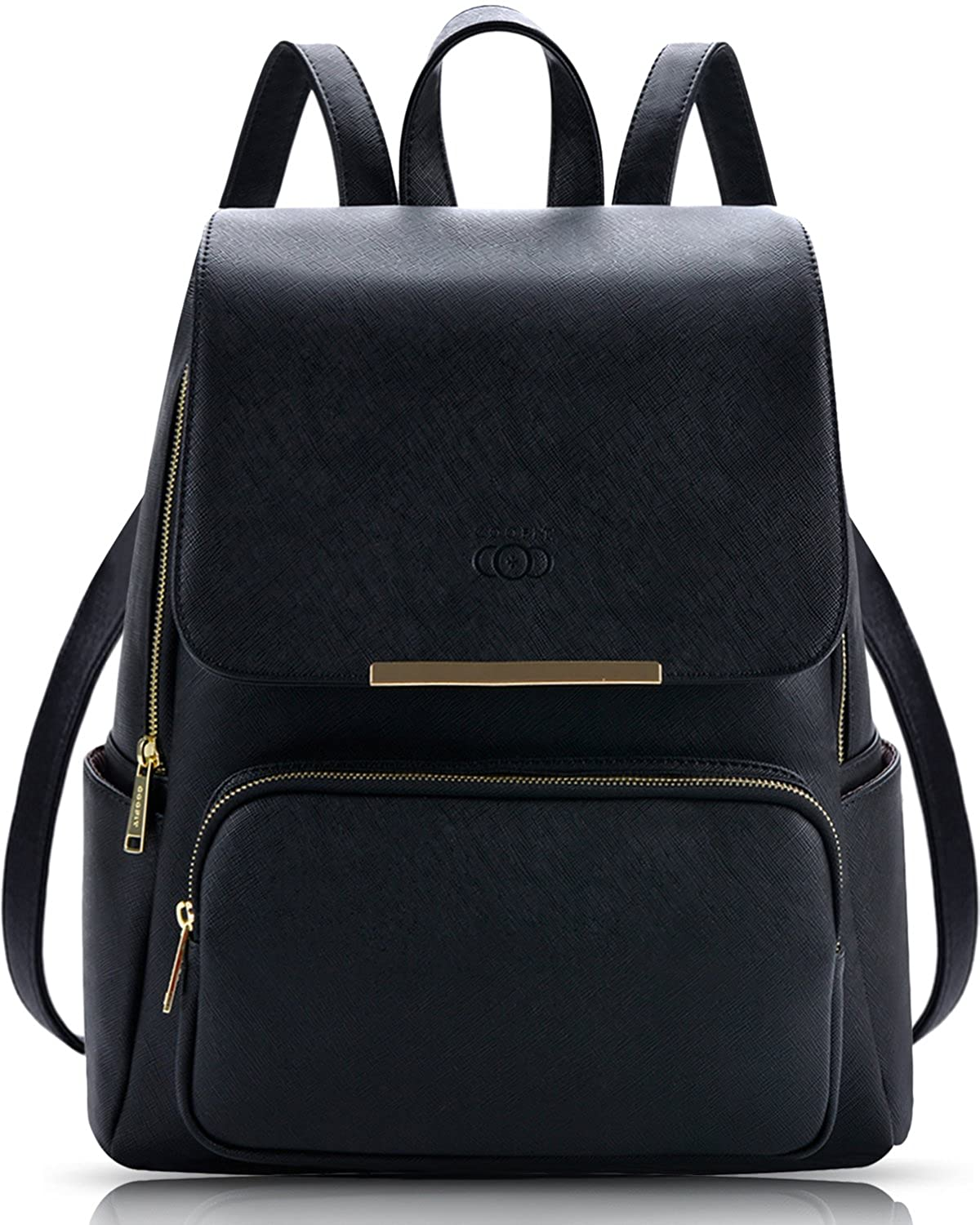 Leather Backpack, COOFIT Black PU