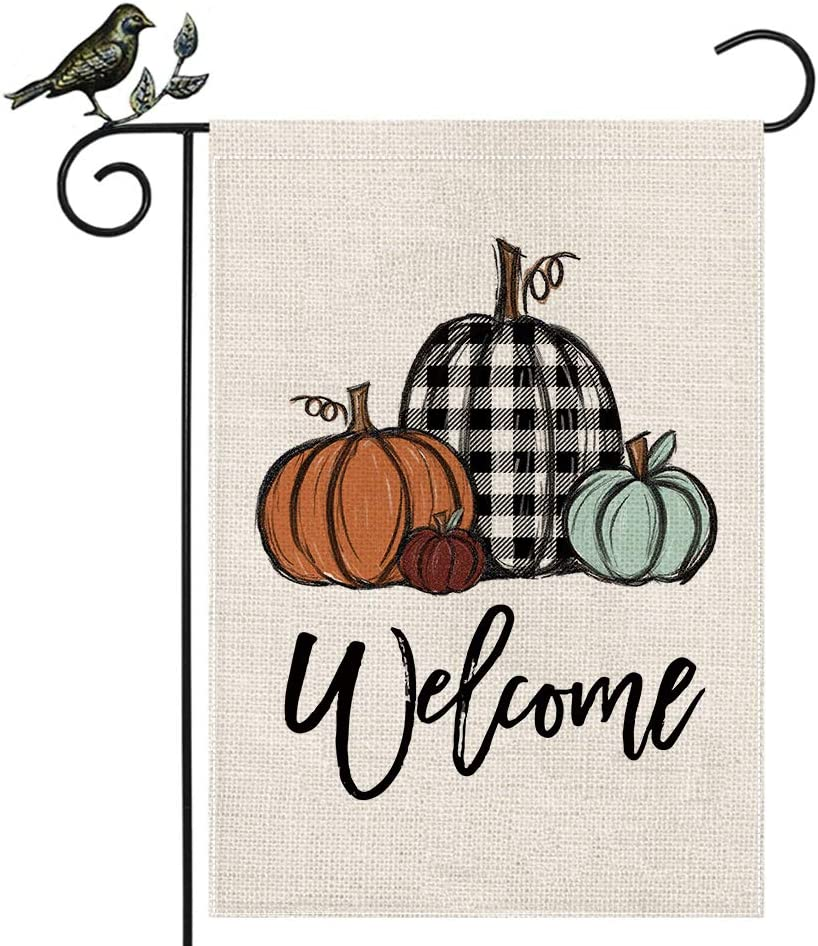 AENEY Fall Pumpkin Garden Flag 12.5 x 18 Inch Vertical Double Sided, Buffalo Check Plaid Fall Small Garden Flag, Fall Yard Outdoor Decoration