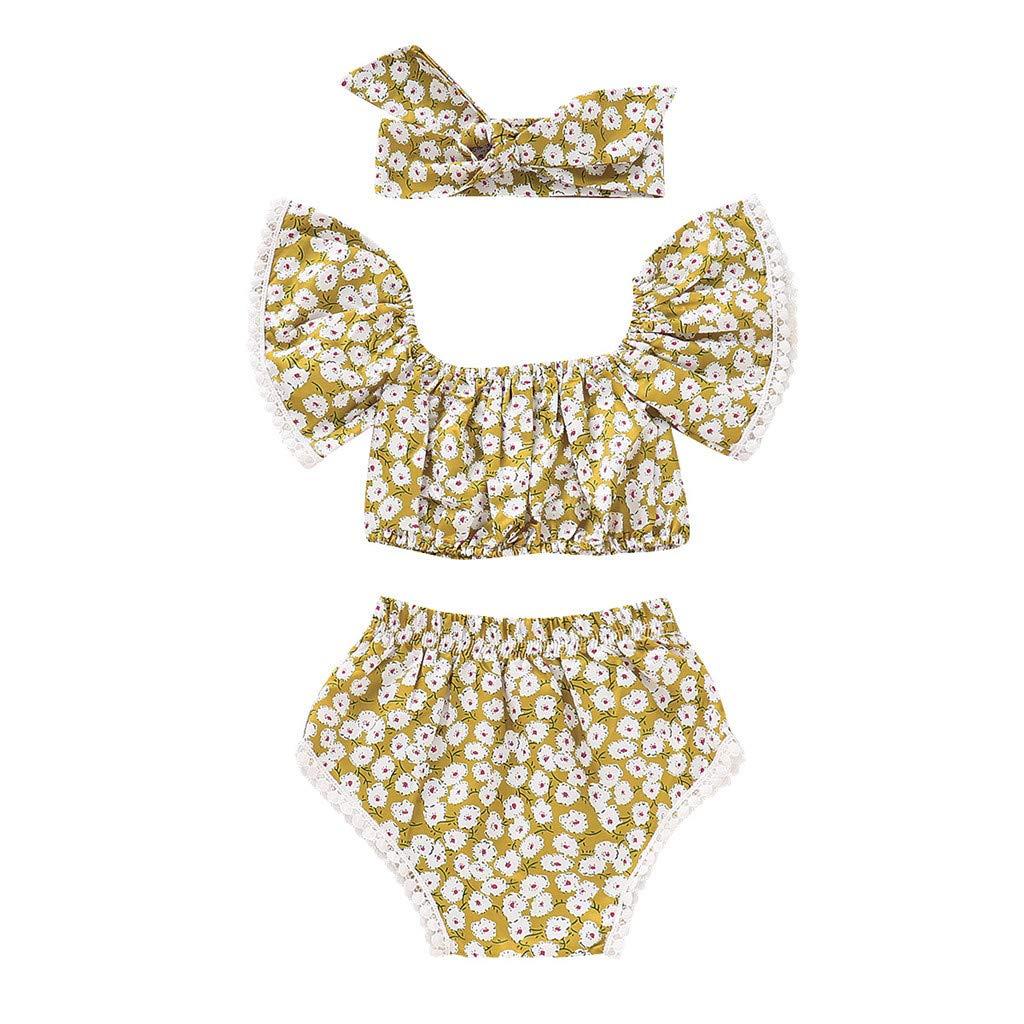 Pantaloncini Fascia Bambine Vestiti Set Jimmackey Neonata off Spalla Crisantemo Stampa Camicia Ombelico Cime