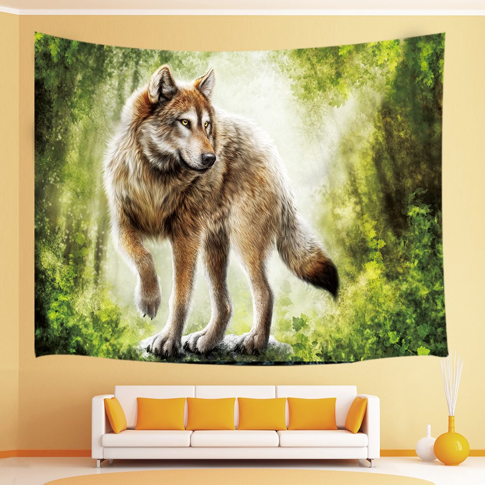 JAWO Wild Life Decor Tapestry Lions Lover Head Zoom Portrait Wall Blankets for Bedroom Grey