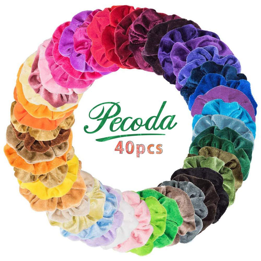40 Pcs Hair Scrunchies Velvet Elastic Hair Bands Hair Ties Ropes Scrunchie for Women or Girls Hair Accessories - 40 Assorted Colors Scrunchies