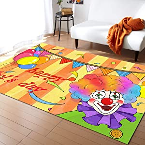 Indoor Contemporary Area Rug Non-Slip Floor Mat Happy April Fools' Day Clown with Ballon Comfortable and Multi Use for Living Room/Bedroom Washable Mat (2'x 3')