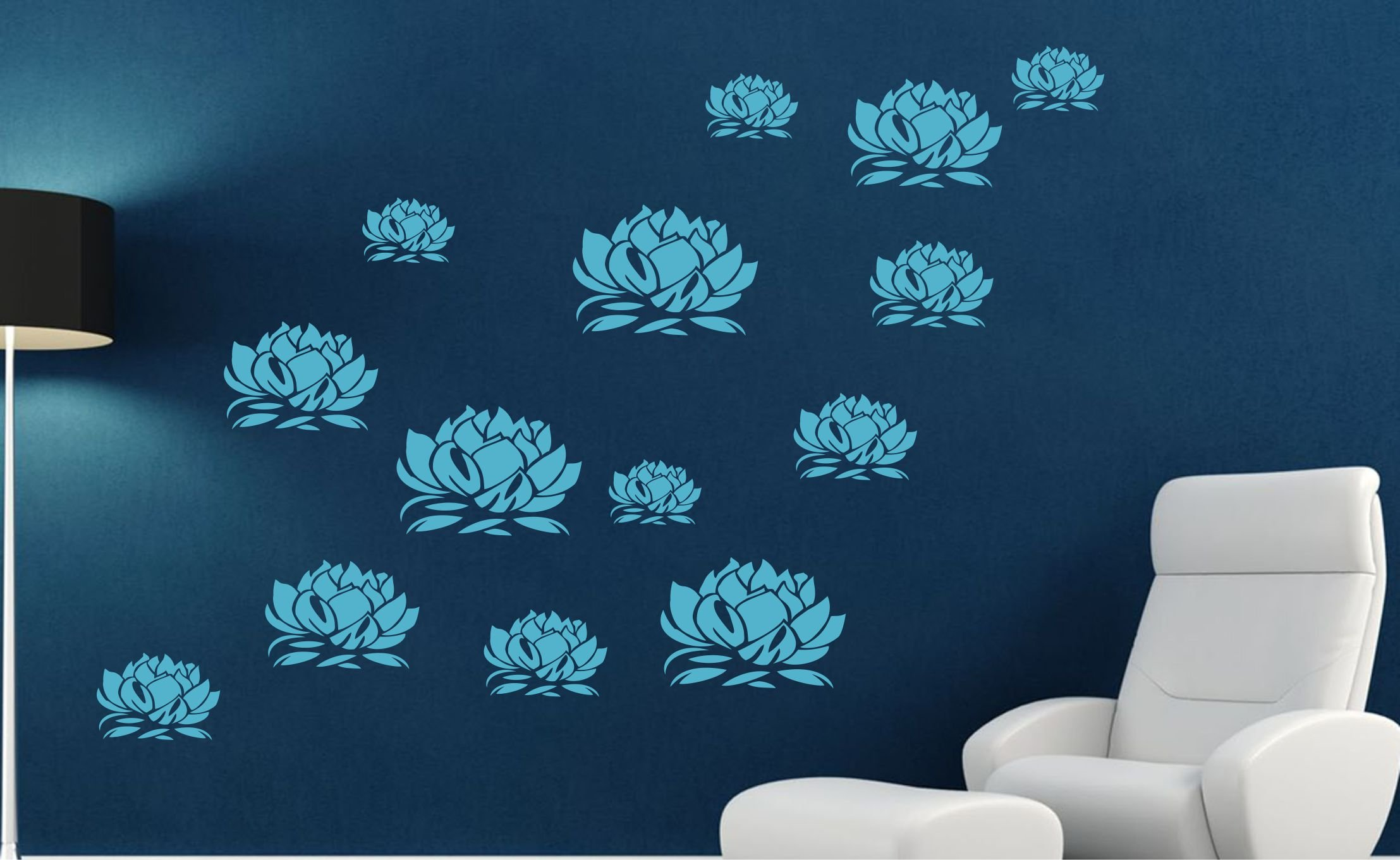 Lotus Blossom Stencil - (size 12''w x 8.25''h) Reusable Wall Stencils for Painting - Best Quality Lotus Flower Stencil Ideas - Use on Walls, Floors, Fabrics, Glass, Wood, Terracotta, and More... by Stencils for Walls