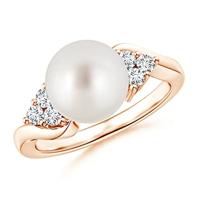 Angara South Sea Cultured Pearl Bypass Ring with Trio Diamond WP7pek