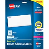 """Avery Address Labels with Sure Feed for Inkjet Printers, 0.5"""" x 1.75"""", 800 Labels, Permanent Adhesive (18167)"""